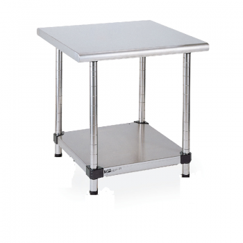 Stationary Lab Table With Lower Solid Shelf (Stainless Steel)