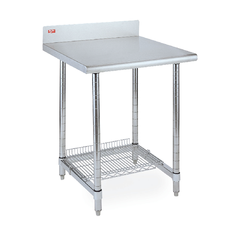 Stationary Lab Table With Back Splash And U Frame (Stainles Steel)