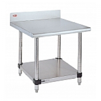 Stationary Lab Table With Back Splash And Solid Lower Shelf (Stainles Steel)